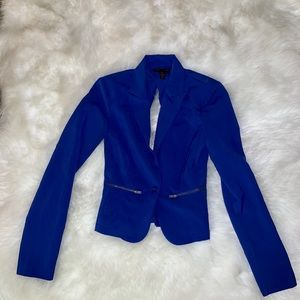 Royal blue blazer with open back detail
